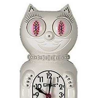 Kit-Cat Clock White Jeweled (pink) Lady JLBC-12P