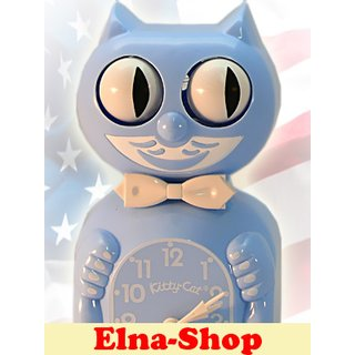 Kitty Cat Clock Wand-Uhr baby-blue
