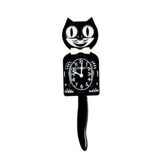 Kitty Cat Clock Wand-Uhr schwarz