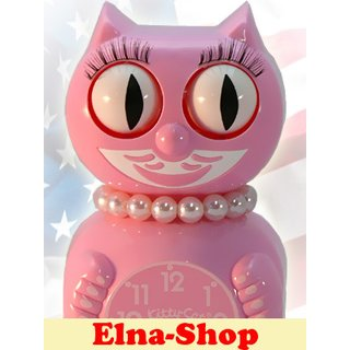 Miss Kitty Cat Clock Wand-Uhr pink